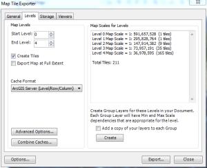 Arc2Earth settings to create ArcGIS Tiles